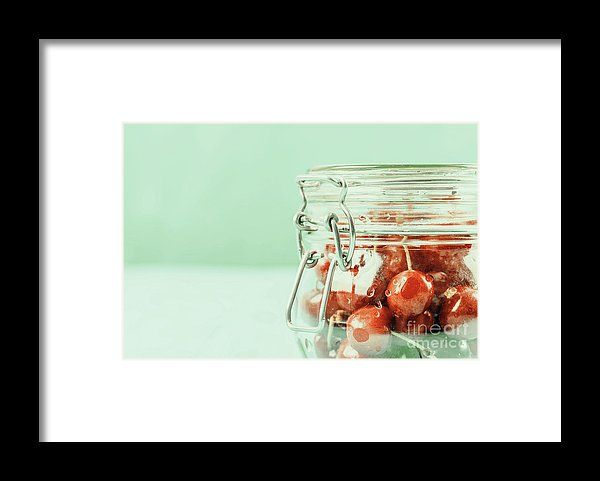 Jar Of Red Fresh Cherries On Turquoise Background Framed Print