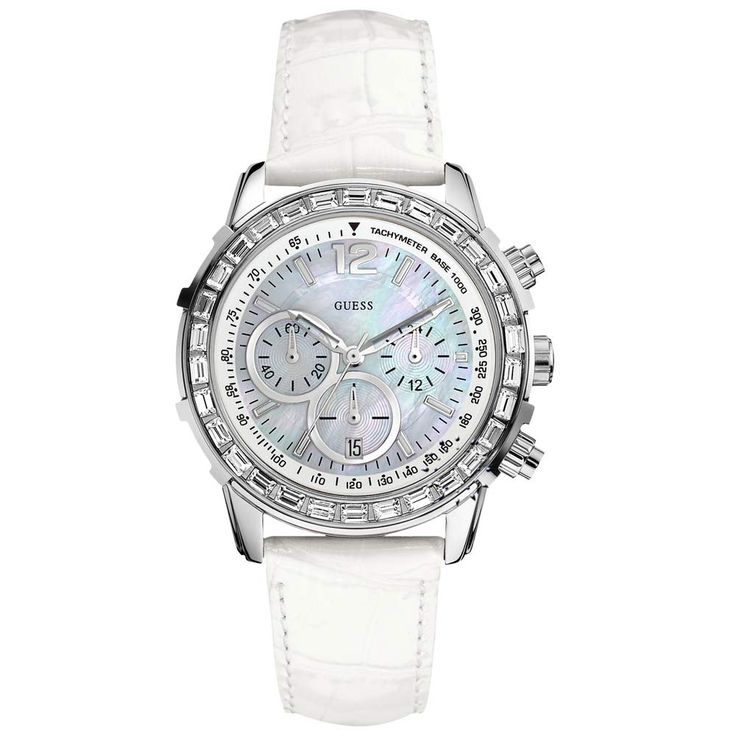 GUESS Crystal White Leather Strap Η τιμή μας: 186€ http://www.oroloi.gr/product_info.php?products_id=29275