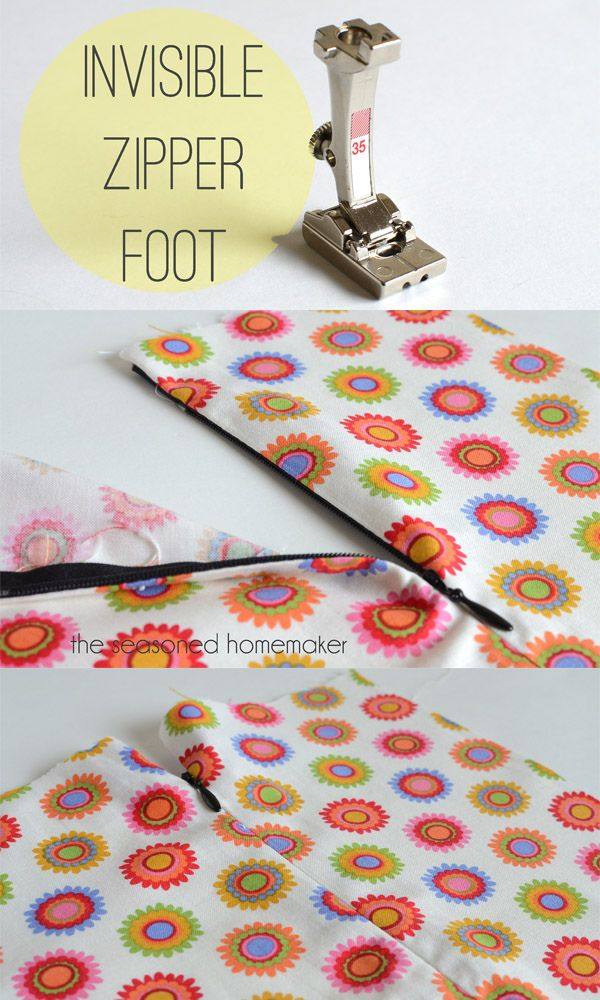Putting in an invisible zipper foot from The Seasoned Homemaker