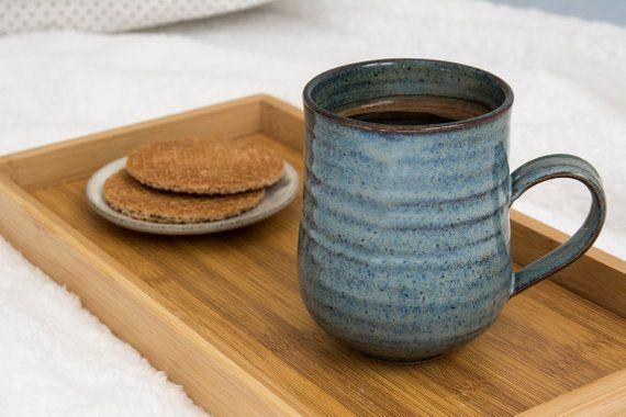 Big Coffee Mug Ceramic 14 Fl Oz Blue Mug Etsy Big Coffee Mugs Mugs Coffee Mugs
