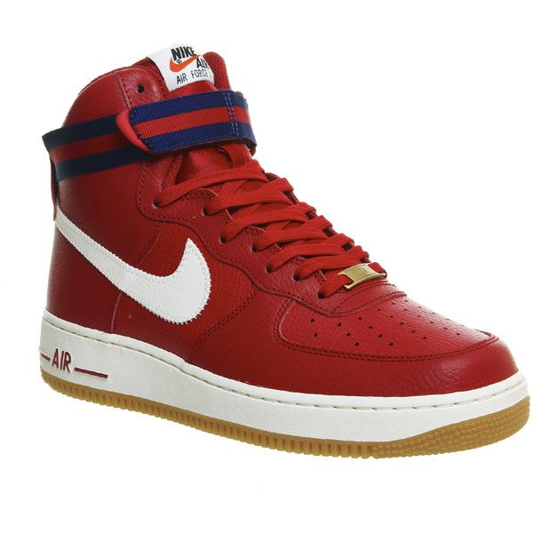 Nike Air Force 1 Hi ($110) ❤ liked on Polyvore featuring shoes, sneakers, gym red royal blue gum m, trainers, unisex sports, red shoes, red high tops, high top shoes, sports trainer and royal blue sneakers