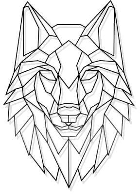Laser Cut Metal Geometric Wolf Stare Wall Art Blac…