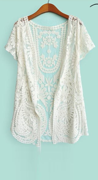 crochet lace short sleeved cardigan $25