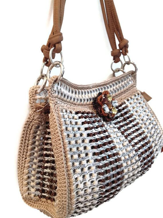 Pamela Pop Tab Satchel Crochet Purse Brown and by PopTopFashion