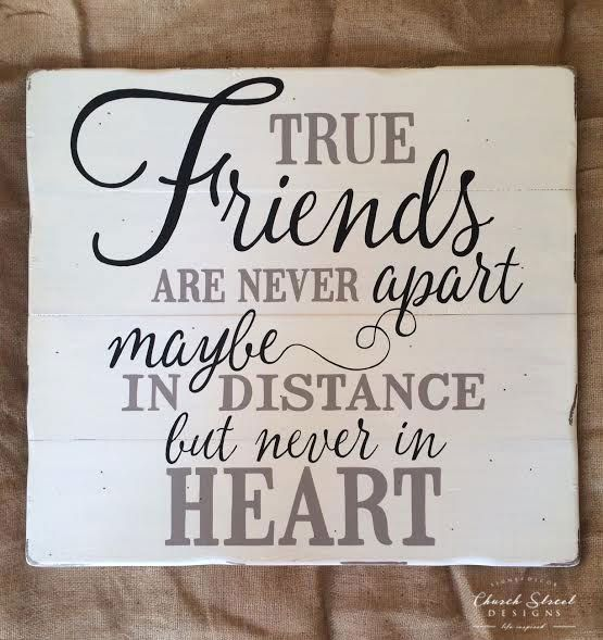 True Friends Quote Hand Painted Wooden Sign by ChurchStDesigns