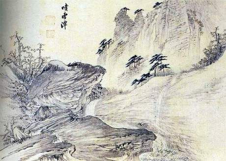 (Korea)분설담 in Mt Geumgang, 1788 금강4군첩 by Kim Hong do (1745-1806). Joseon Kingdom, Korea. ink & color on paper.