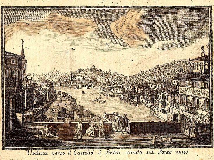 Verona da Ponte Nuovo - antica stampa XVIII sec.