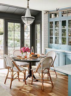 Pretty breakfast area, paris cafe chairs, interior design, light blue, grey, sunroom, windows