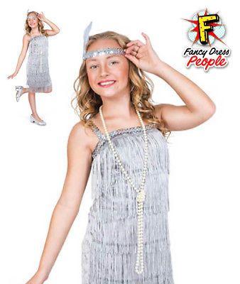 Girls Charleston Silver Flapper Costume Child 1920s Gatsby Fancy Dress Kids