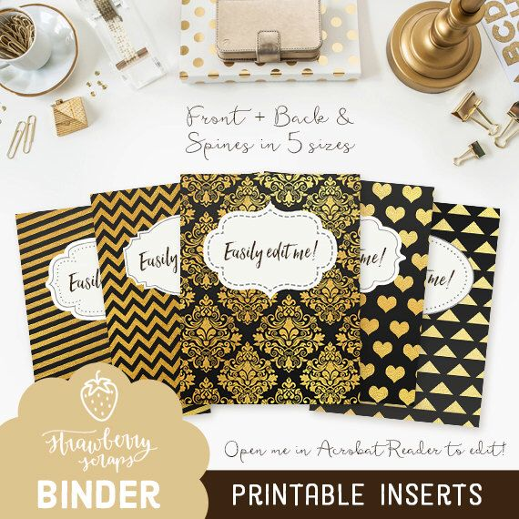 """Binder covers: """"BLACK & GOLD"""" 5x set Covers + Spines 
