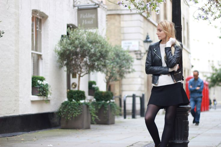 The Urban Slang - Marietta presents a typical cozy fall look with Zara leather jacket and skirt and Mango oversized jumper
