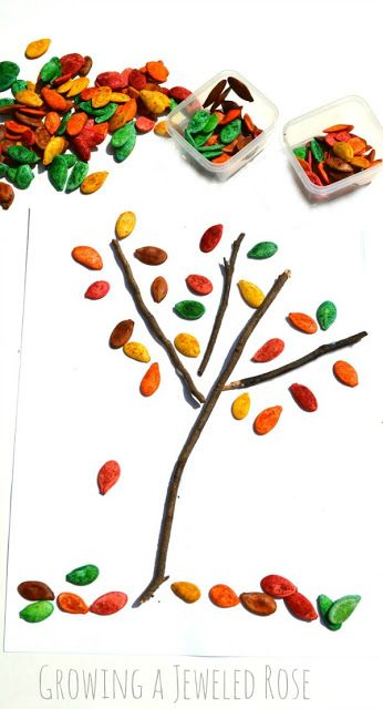 Fall tree craft for kids using colorful pumpkin seeds and real twigs (Click to see how to make colored & scented seeds)