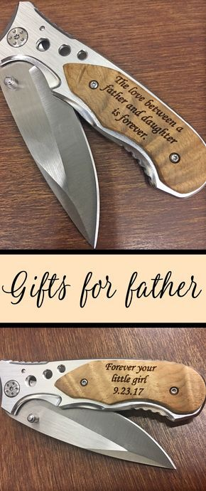 This father daughter gift will make your dad smile. Remind daddy that you are still his little girl every single day with this quality pocket knife with pocket wood handle, pocket clip and stainless steel blade. Each knife can be personalized and engraved with up to 3 lines of text. These make great gifts for your father on wedding day, his birthday, holidays and any other special day.