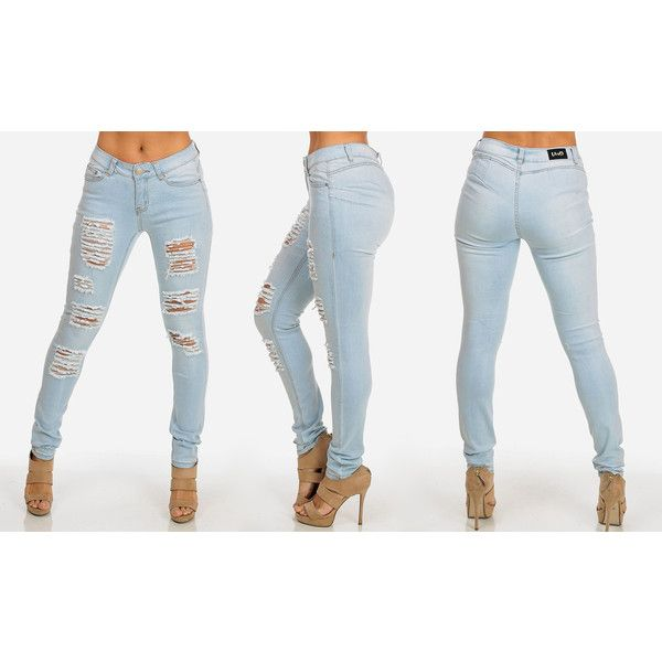 Women's ModaXpressOnline.com Light Blue Butt Lifting Ripped Stretchy... ($25) ❤ liked on Polyvore featuring jeans and white