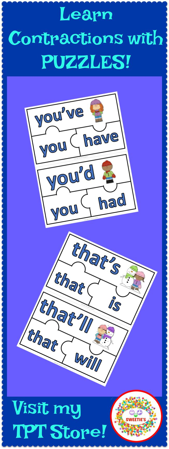 Learn contractions with 45 puzzles!  What a great way to learn how to put the two words into one!  Great for early finishers or a literacy center.  Students will match the three sections of each puzzle. - Contraction - Pronoun - Verb  Pronouns – I, you, he, she, it, we, they, that, who Verbs – forms of be, will, would, have, had  #teacherspayteachers #learnenglish