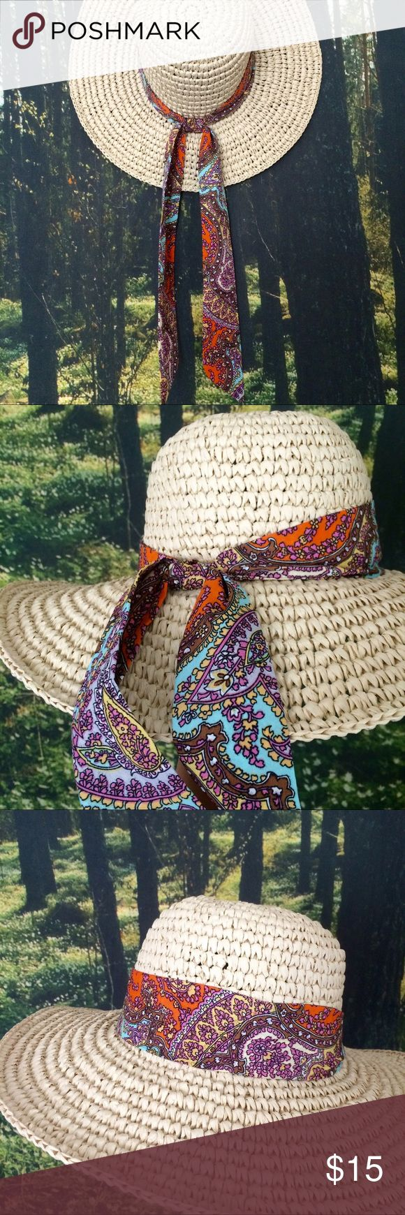 """Boho Straw Hat Flexible straw hat with a tied-on paisley bohemian scarf. Perfect for a day at the beach or a summer morning in your garden. One size fits most.   👉🏽$5.00 SHIPPING ON DEPOP--check """"About"""" for link. Accessories Hats"""