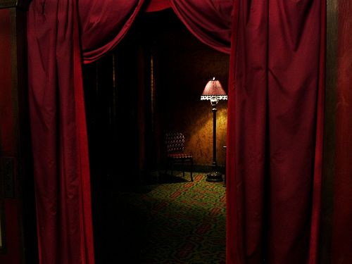 velvet curtain  by court_master on flickr -  lamp, chair, theatre, huntington