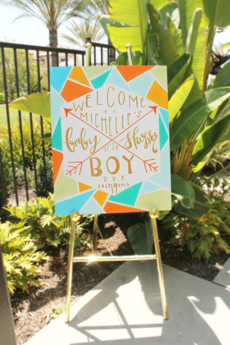 Colorful geometric baby shower signage. Handwritten calligraphy | Lovelyfest Event Design | Midcentury Modern Baby Shower