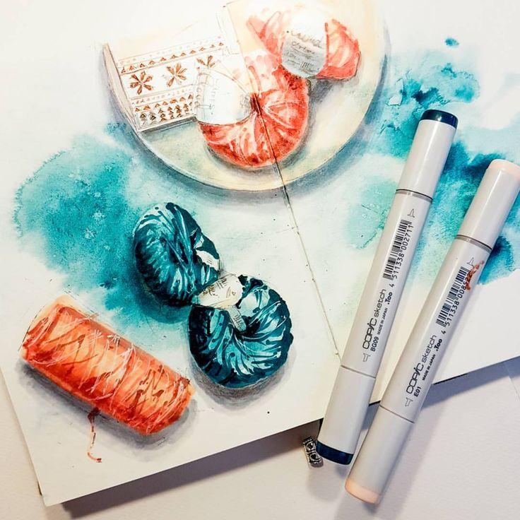 Watercolor. Copicmarker. Sketchbook.✏🎨📖 Copicmarker und Aquarell in einem Bild vereint… ✏🎨📖😊😊😊 Пару дней не могла заставить себя ничего нарисовать. Наверное, даже от самой любимой работы время от времени нужен перерыв. А у вас такое бывает? Что вы в таких случаях делаете? Я решила поэкспериментировать и соединила в одной рисунке маркеры с акварелью. 😂😂😂✏🎨📖 #worldofartists #watercolor #instaart #instadraw #instartist #art #artist #watercolour #illustrator #illustration #sketch…