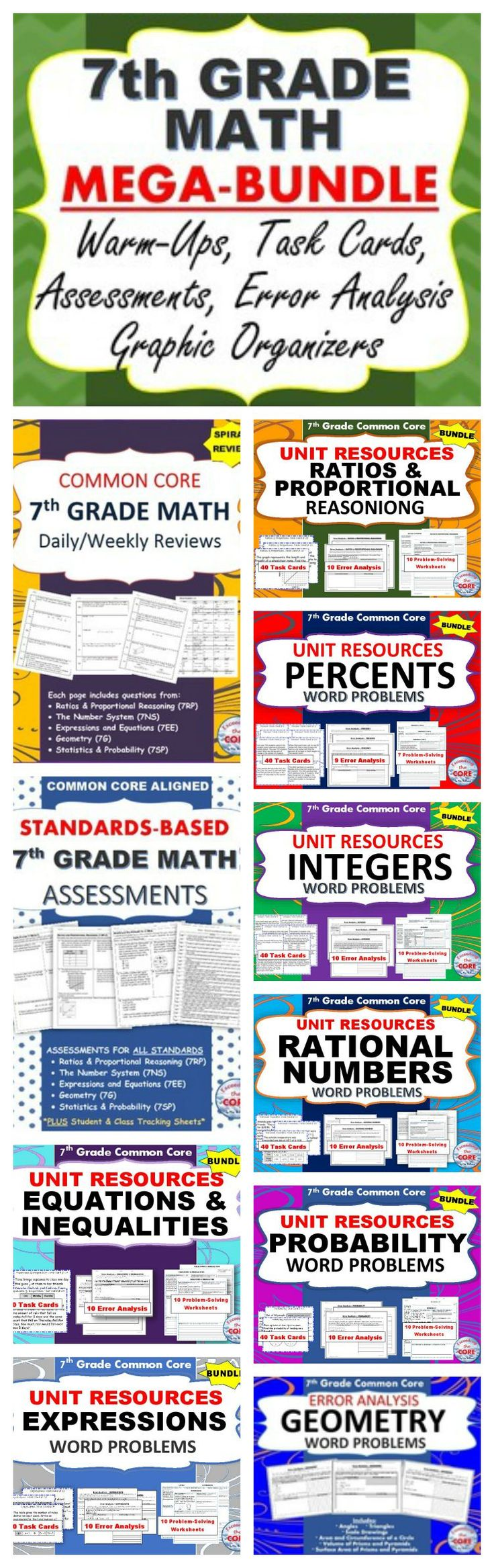 This 7th GRADE COMMON CORE MEGA-BUNDLE includes 27 of my top selling resources (over 275 pages).  As a current 7th grade math teacher, I am using the activities in this bundle for warm-ups, homework, math centers, assessments, exit tickets, and test prep. Topics include Ratios and Proportional Reasoning, Percents, Rational Numbers, Integers, Geometry, Statistics and Probability