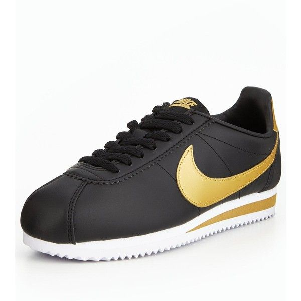 Nike Classic Cortez Leather ($63) ❤ liked on Polyvore featuring shoes, real leather shoes, nike, black leather shoes, leather footwear and leather shoes