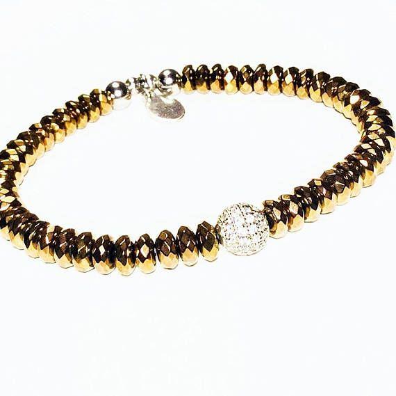 Diamond Bracelet  Diamond Hematite Bracelet  Luxury jewelry