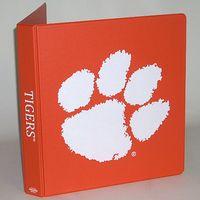 Clemson, 1 inch Imprinted Vinyl Binder, Orange