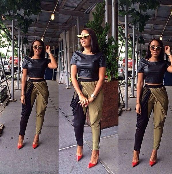 Angela Simmons shop crave boutique teeter olive and black pants
