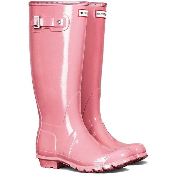 Hunter Wellies Womens Original Tall Gloss Rhodonite Pink ($135) ❤ liked on Polyvore featuring shoes, boots, shiny shoes, shining boots, rubber boots, wellies boots and rain boots