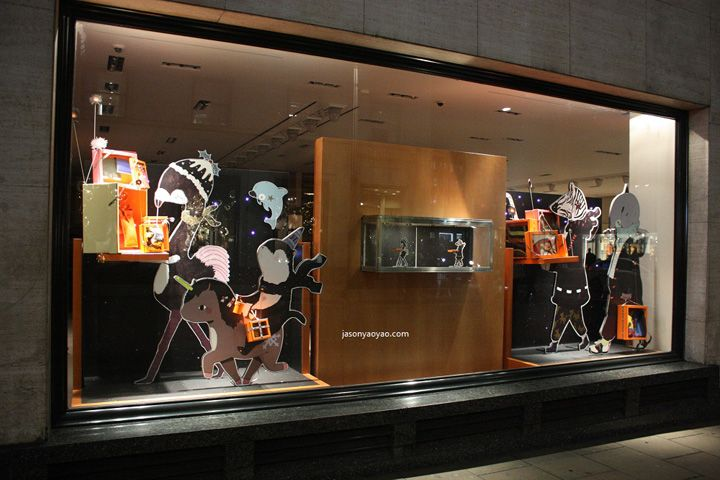 Hermes windows at Bond street, London visual merchandising