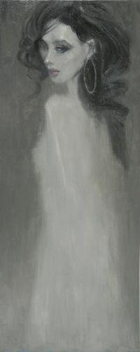 Lady in white (60x150) Dusete bilde av kvinne på lerret.   Mål: Bredde 60 cm Høyde 150 cm