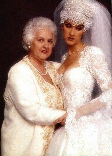 Céline Dion and her precious mum on her wedding day.