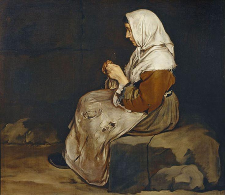 Woman knitting, Giacomo Ceruti