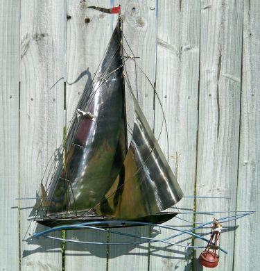 Vintage Sailboat Nautical Metal Wall Art   Metal wall art ...