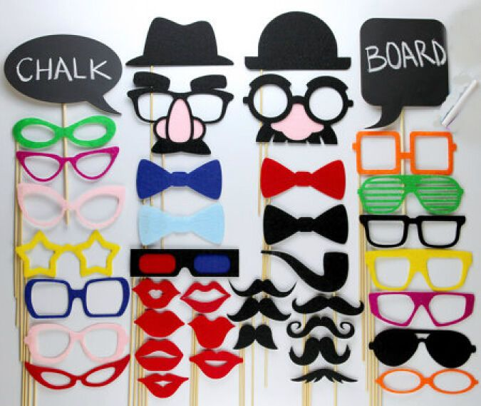40pcs DIY Party Masks Photo Booth Props Mustache On A Stick Wedding Party Favor9 #GoodLuck