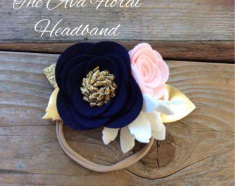 Felt Rose <b>Headband in</b> Pink Navy and White <b>Baby</b> Girl <b>Headbands</b> ...