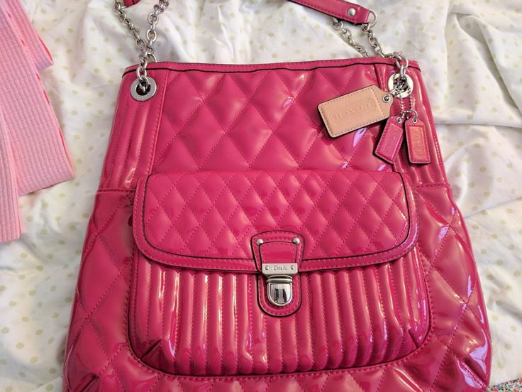 Coach Poppy Quilted Patent Leather Glossy Hot Pink Cross-body Purse