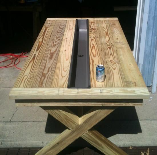 Ice trough cold beer picnic table plans derek likes it Picnic table with cooler plans