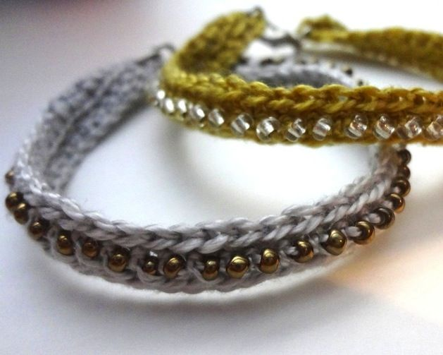 Jewelry created by knitting or crocheting