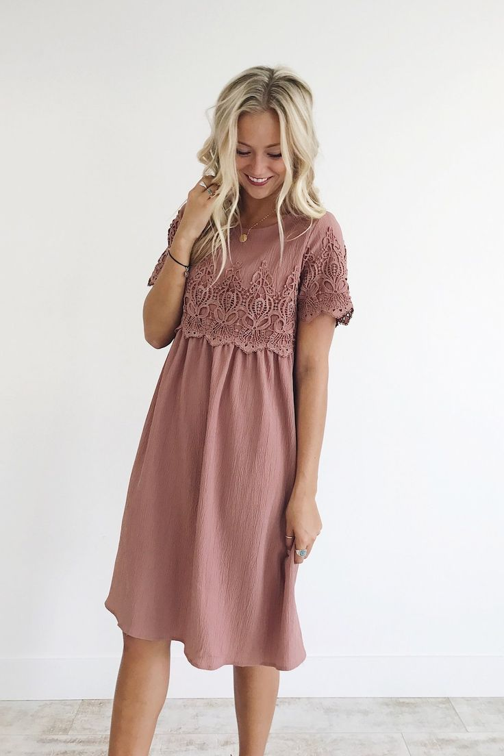Mauve Rose Midi Dress Babydoll Silhouette Lace Detailing on Sleeve + Front Keyho... 15