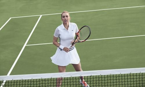 Elena Vesnina's #Wimbledon look: #Lacoste Mesh Sleeve Polo + Pleated Skirt