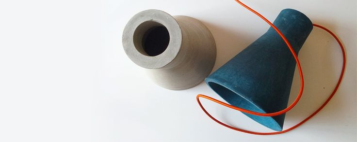 20 eight design concrete station lamp [ocean blue concrete with burnt orange fabric cord]  www.20eight.co.za