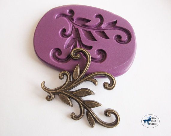 Leaf and Vine Filigree Scrollwork Corner Mold - Vintage Steampunk Mold - Silicone Molds - Polymer Clay Resin Fondant on Etsy, $6.95