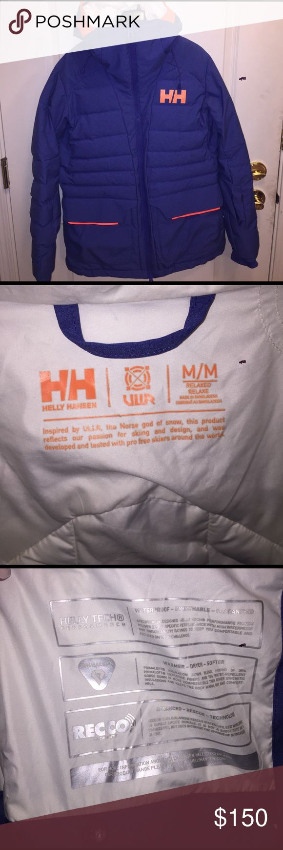 Helly Hansen Ski Jacket Helly Hansen Cordelia Ski/Snowboard Jacket. Relaxed fit. Primaloft, waterproof, breathable, RECCO. Underarm zippers. Blue/purple with orange trim. Used, excellent condition. Smoke free home. Helly Hansen Jackets & Coats Puffers
