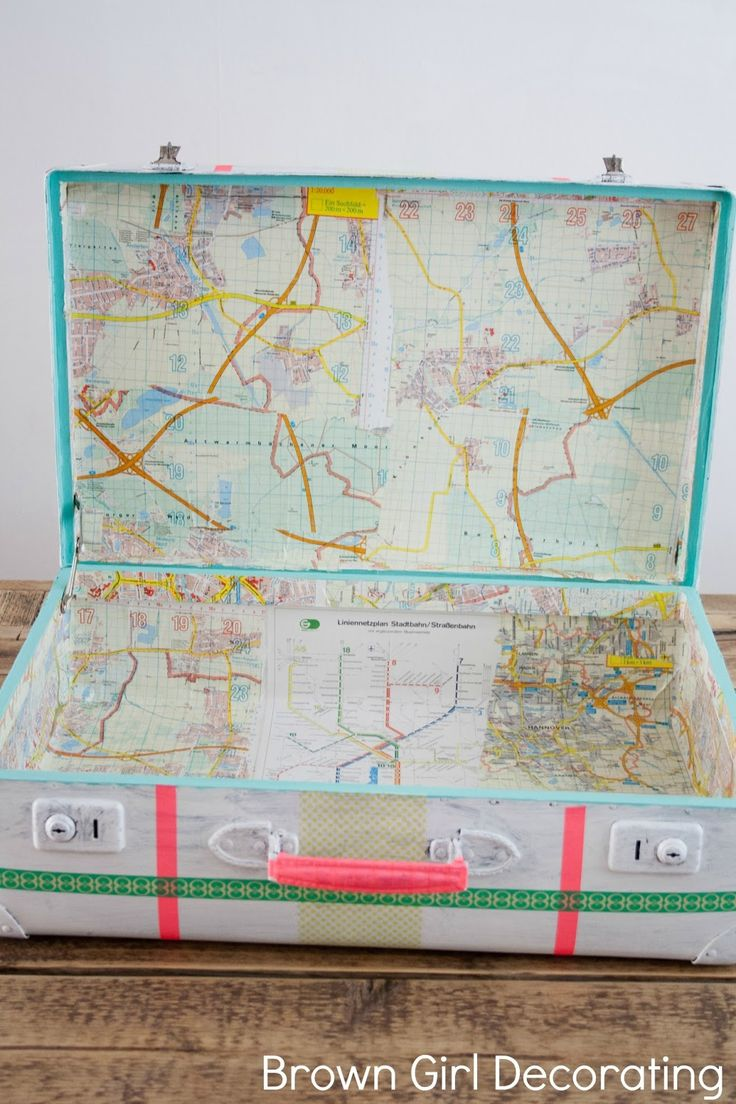 Brown Girl Decorating: How To Transform An Old Suitcase With Paint, Old Maps and Washi Tape