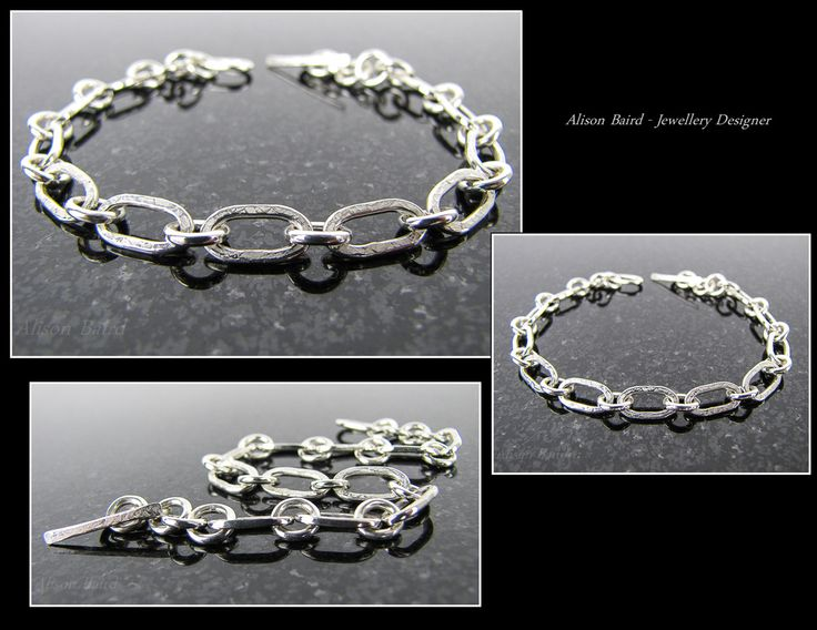 Sterling silver 'Raw Silk' bracelet with forged links