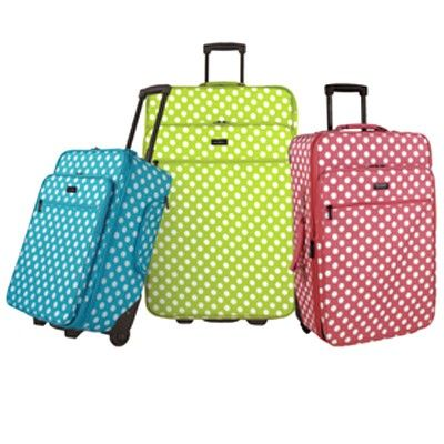 Olympia Jasmine Collection Polka Dot Luggage Set