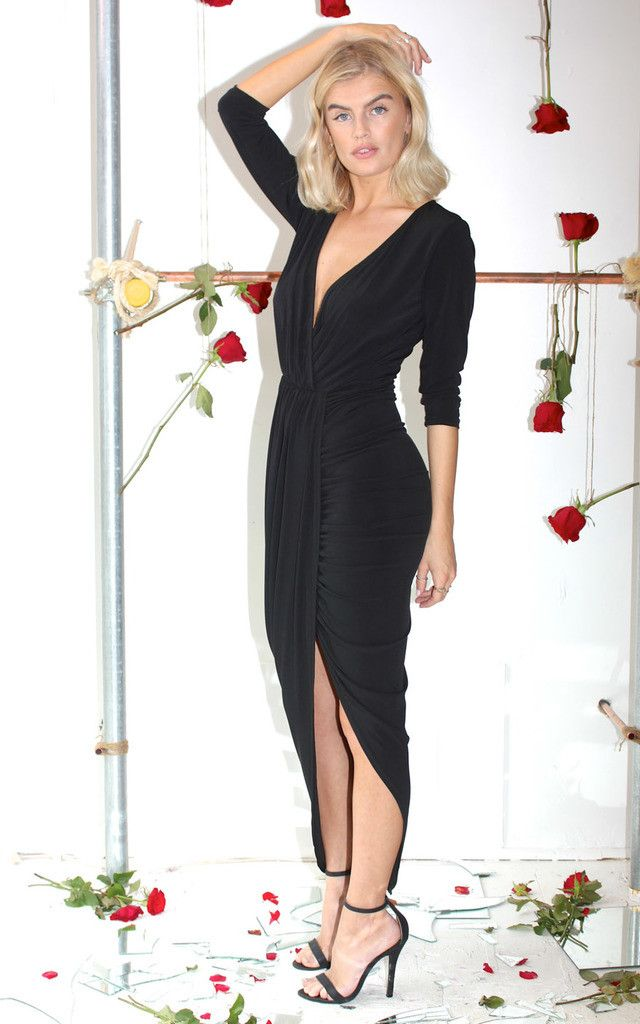 A twist on the cult classic, the Jodie jumpsuit, this dress is made with the same super flattering fabric. Perfect effortlessly sexy black dress.