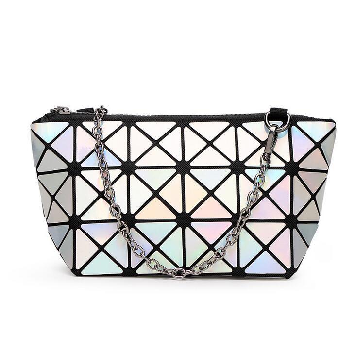 Discounts! Geometric Women-bag chain shoulder bag Hologram laser silver bag female  bag   Free Shipping Laser Silver handbag