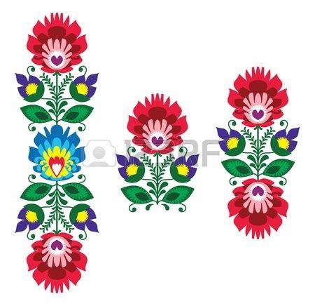 Broderie populaire - motif floral traditionnel polonais photo